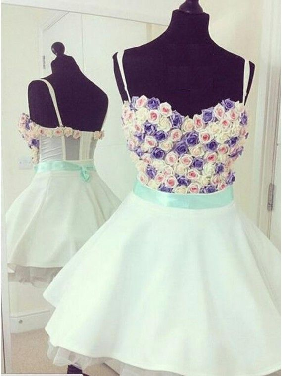 A-line Mint Spaghetti Straps Appliques Sash Short Homecoming Cocktail Dress
