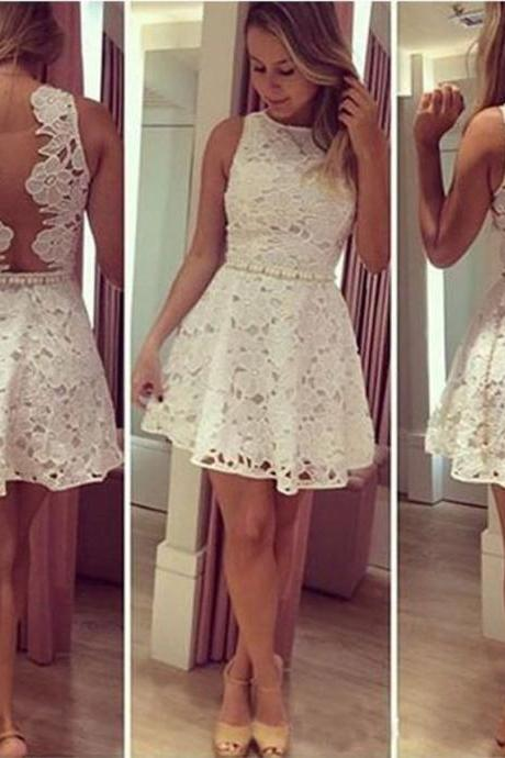 White Lace Bateau Illusion Back Pearls Short Homecoming Cocktail Dress