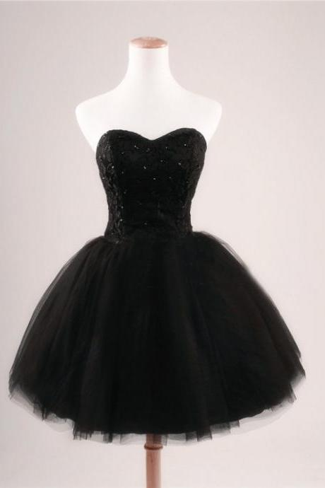 Black Lace Sweetheart Beading Lace-up Short Homecoming Cocktail Dress