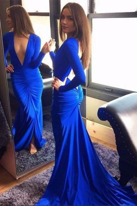 Hot Deep V Neck Long Sleeves Sweep Train Backless Royal Blue Prom Dress