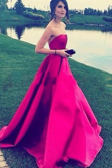 A-line Strapless Prom Dress,Fuchsia Prom Dress,Satin Prom Dress