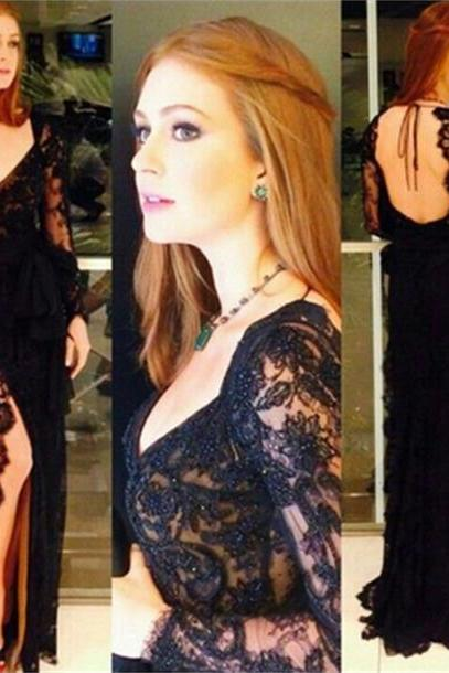 Black Prom Dress, Party Prom Dress, Mermaid Prom Dress, Long Sleeves Prom Dress