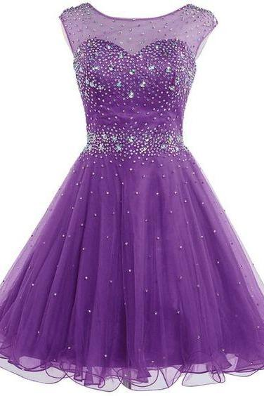 Short Tulle Beading Homecoming Dress Prom Gown,Cute Homecoming Dresses,Short Prom Gown