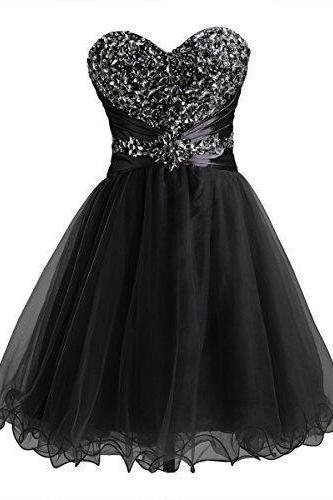 Black Homecoming Dress,Tulle Homecoming Dress,Cute Homecoming Dress,Fashion Homecoming Dress,Short Prom Dress