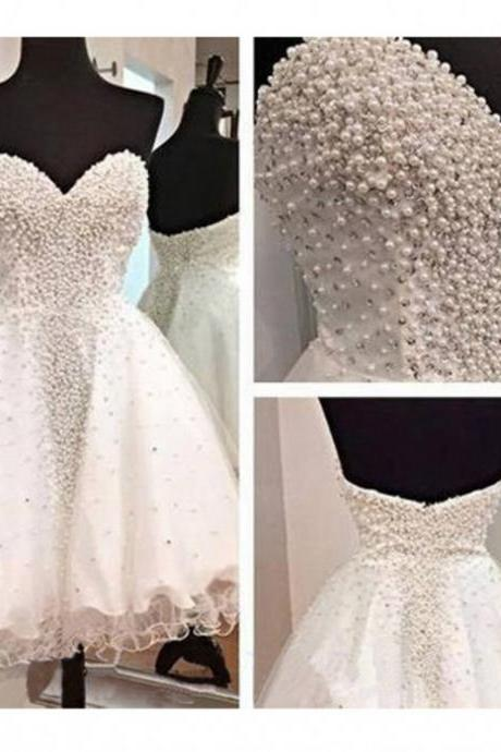 White Homecoming Dresses,Sweetheart Homecoming Dress,Custom Made Evening Dress