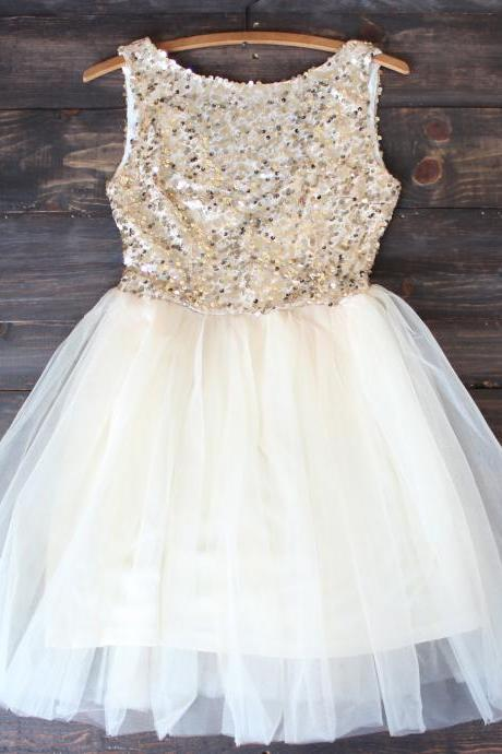 gold sequin darling party dress,Custom Made Evening Dress