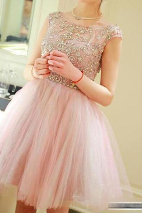Pink Homecoming Dresses,Beaded Homecoming Dress,Custom Made Evening Dress