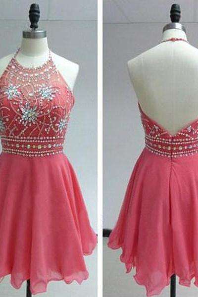 Short Prom Gowns,Watermelon Red Prom Dress,Cute homecoming dress