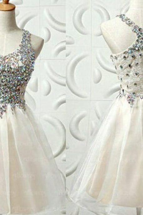 Halter Unique Short/Mini Chiffon Beading Homecoming Dress,Cute homecoming dress