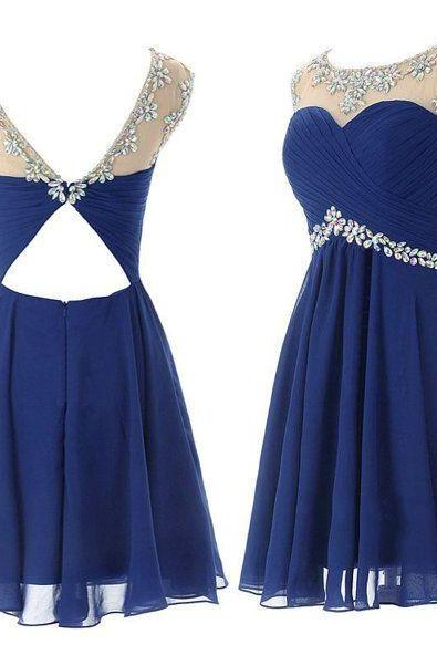 Short Prom Gowns,Beaded Prom Dress,Cute homecoming dress