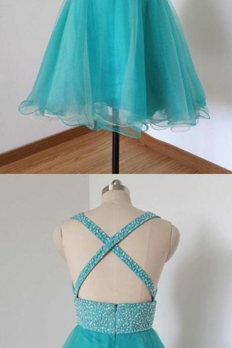lake blue homecoming dress,sparkling homecoming dress,modest homecoming dress,cheap homecoming dress