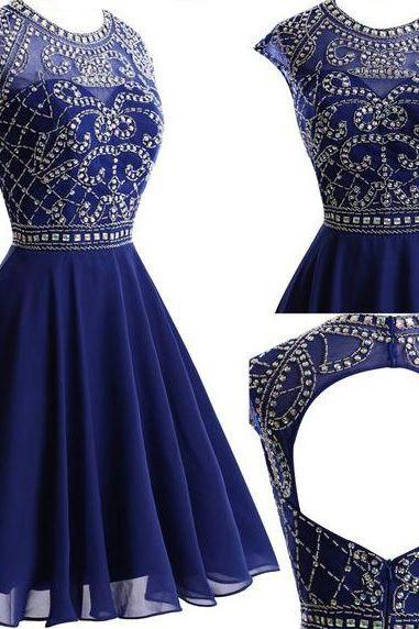 Round Neck Homecoming Dresses, Rhinestone Homecoming Dresses, Navy Chiffon Homecoming Dresses, Open Back Homecoming Dresses