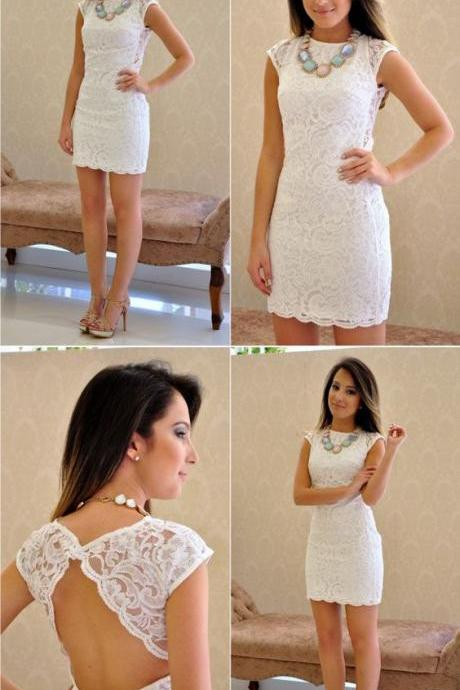 White Lace Homecoming Dress,Backless Prom Dress,Charming Party Dresses, Sexy Cocktail Dresses