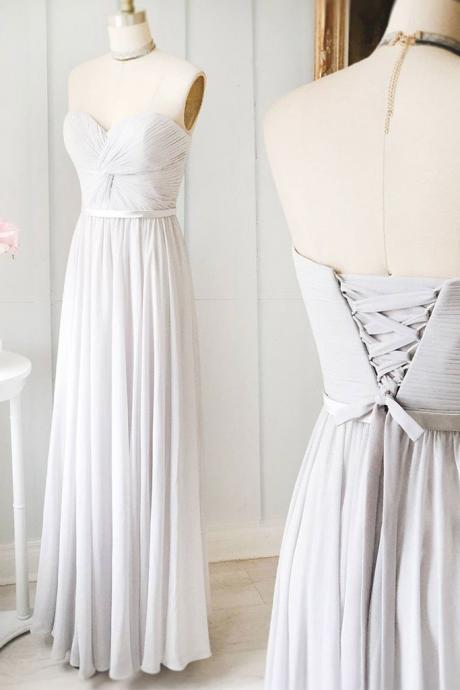 Grey Chiffon Ruched Sweetheart Floor Length A-Line Wedding Guest Dress Featuring Lace-Up Back