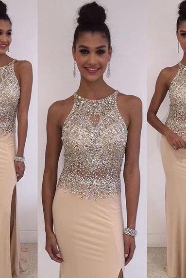 Beaded Embellished Halter Neck Floor Length Chiffon Trumpet Prom Dress Featuring Slit