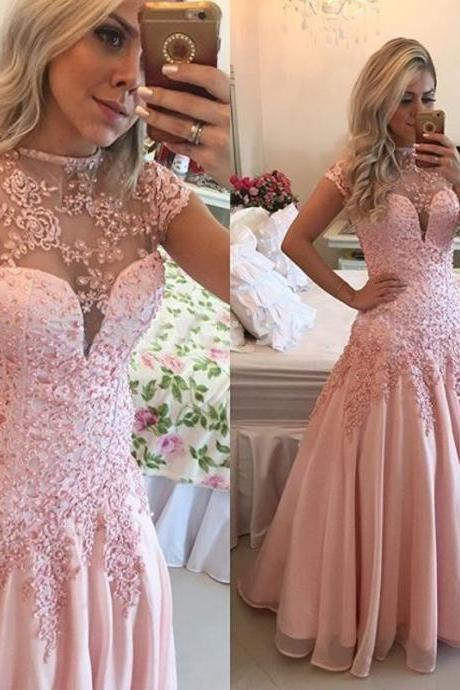 Custom Made Pink Illusion Neckline Floor Length Prom Dress with Beading and Lace Applique