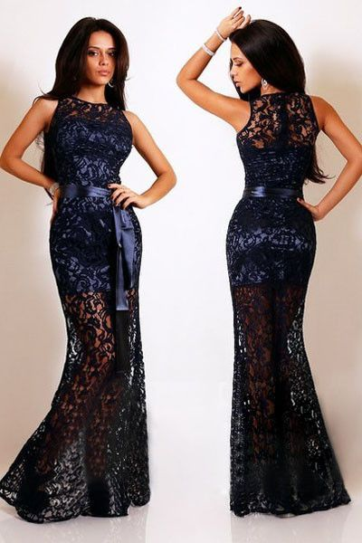 Custom Made Black Sleeveless Lace Long Prom Dress with Satin Sash