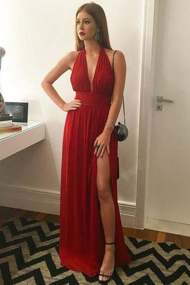 Chiffon Prom Dress,Modest Red Long Prom Dresses ,Charming Prom Dress,slit Prom Dress,Prom Dress,Evening Dress