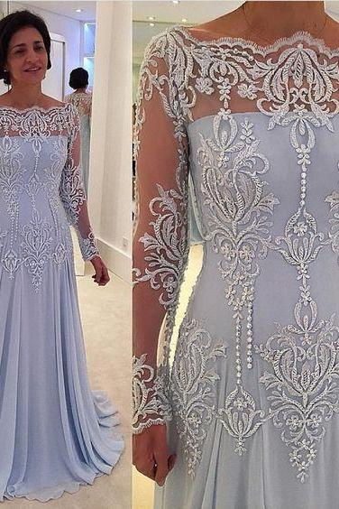 light blue long sleeves modest prom dress,long prom dress