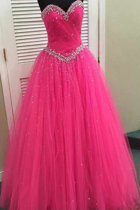 Stunning sweetheart neckline hot pink tulle long beaded prom dress, lace up long evening dress