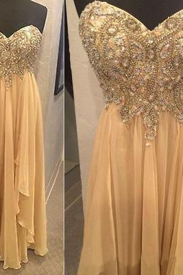 Champagne Beaded Embellished Sweetheart Floor Length Chiffon Ruffled A-Line Prom Dress, Formal Dress