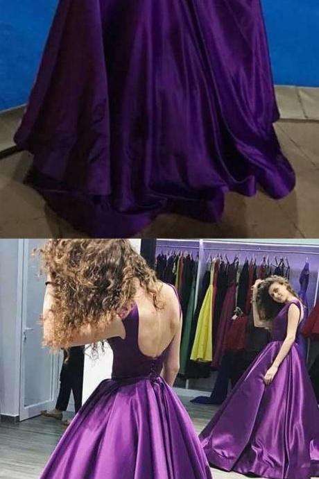 Ball Gown V-Neck Sweep Train Satin Sleeveless Backless Prom Dress