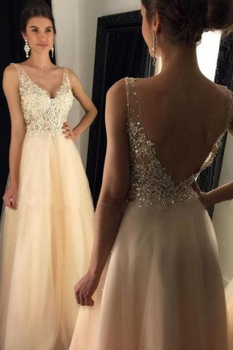 Prom Dresses, V-Neck Prom Dress With Appliques, Beaded Long A-line Tulle Prom Dress, Long Evening Dresses, Prom Dresses