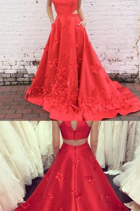 A-Line High Neck Keyhole Back Long Red Satin Prom Dress with Appliques