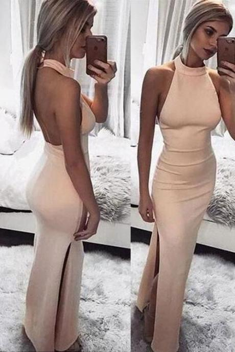 Sexy pink backless long prom dress, evening dress