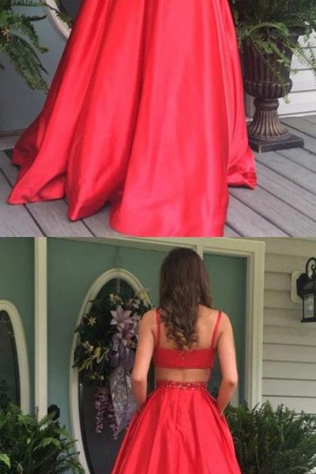 Elegant A-line Red long Prom Dress with Open Back