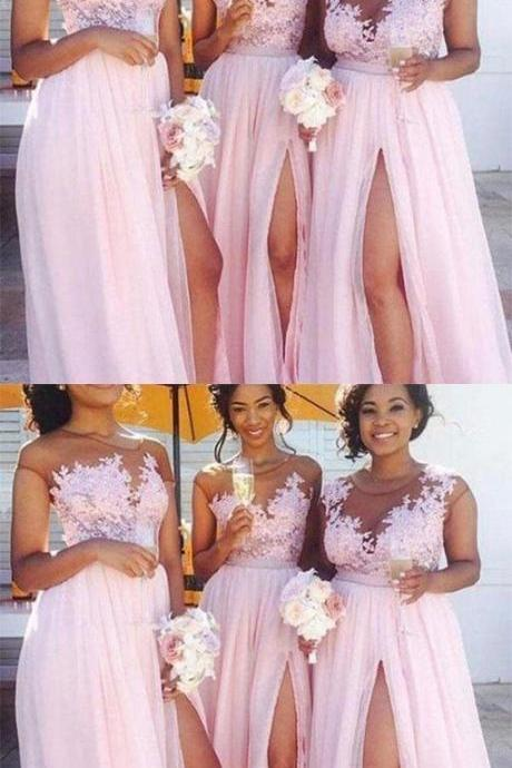 Cheap Lace Applique Pink Chiffon Slit Long Bridesmaid Dress,Cheap Bridesmaid Dresses
