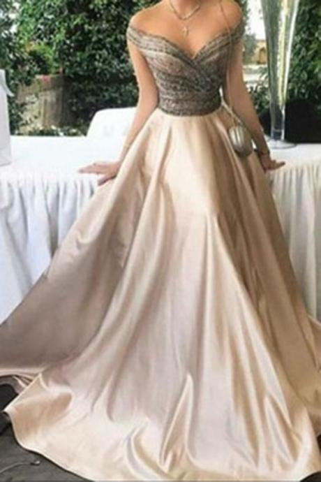 Elegant ivory satins off-shoulder A-line long prom dresses,evening dresses from Cute Prom Dress