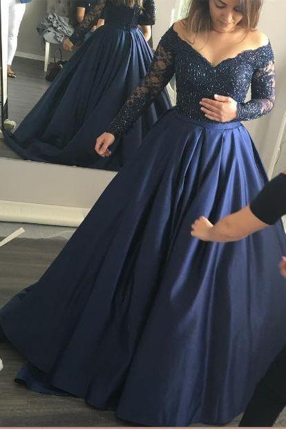 Long Sleeve Dark Navy Prom Dress,Lace Ball Gown,Sweep Evening Dresses,Formal Dresses
