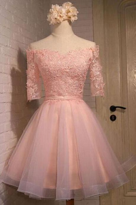 Simple Pink Homecoming Dress,Half Sleeve Prom Dress,Lace Applique Short Party Dress