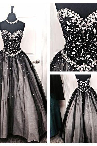 Most Elegant Sweetheart A-line Evening Prom Dress,Lace up Back Ball Gown,Sequins Beaded Formal Women Dress