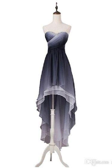 Long Black Prom Dresses Real Photo Grey High Low Ombre Chiffon Prom Dresses