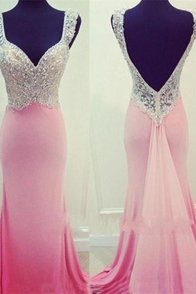 Classy Hot Sale Prom Dresses,Mermaid Prom Dresses,Beading Prom Dresses,Backless Prom Gowns,Chiffon Sexy V-Neck Prom Dresses