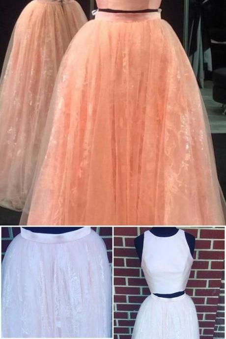 2017 Two Piece Prom Dress, Pink Long Two Piece Prom Dress, Prom Dress with Open Back