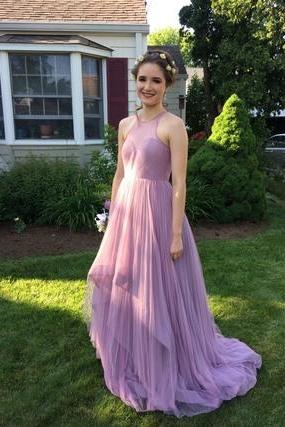 Charming A-Line Round Neck Blush Pink Long Prom/Evening Dress