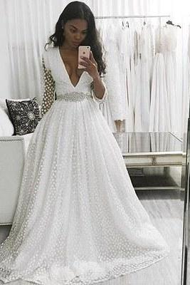 Unique 2017 V-Neck Long Sleeves Wedding Dress, White Lace Long Prom Dress
