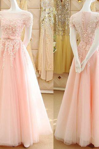 Pink Princess Prom Dresses with Lace Appliques, Illusion Prom Dress with Short Sleeves, See-through Tulle Prom Dresses,Charming Evening Dress