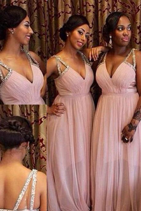 Charming Deep V-neck Spaghetti Straps Beading Floor-Length Pink Bridesmaid Dress