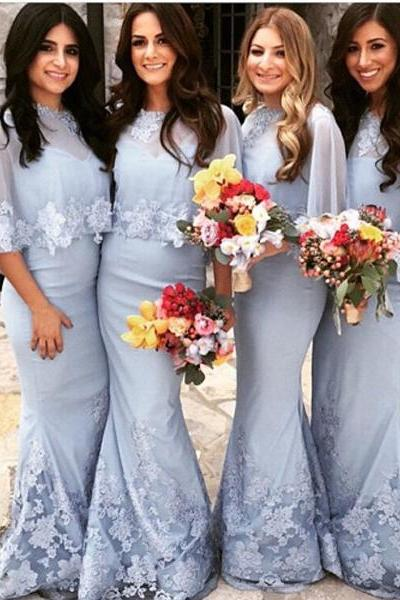 Custom Made Light Blue Chiffon Floor Length Modest Mermaid Bridesmaid Dress with Lace Applique