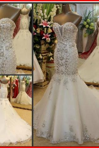 New Arrival Gorgeous Luxurious Swarovski Crystals Bridal Wedding Dress