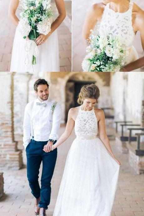 Simple Jewel Sleeveless Floor-Length Lace Top Wedding Dress with Bow