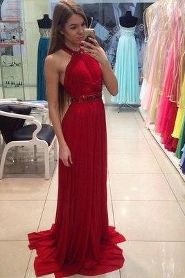 Elegant Red Long Prom Dress, Charming Prom Dress, Halter Prom Dress, Beading Prom Gown, A-line Prom Dress