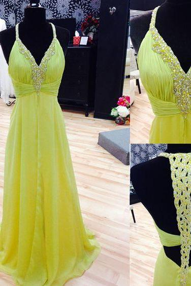 Beaded Embellished Plunge V Shoulder Straps Floor Length A-Line Prom Dress Featuring Open Back, Formal Dress