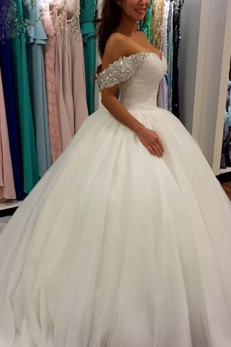 White organza off-shoulder sequins straps A-line wedding dresses