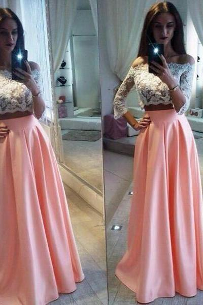 Two Pieces White Lace Top Long Sleeve Pink Satin Long A-line Prom Dresses