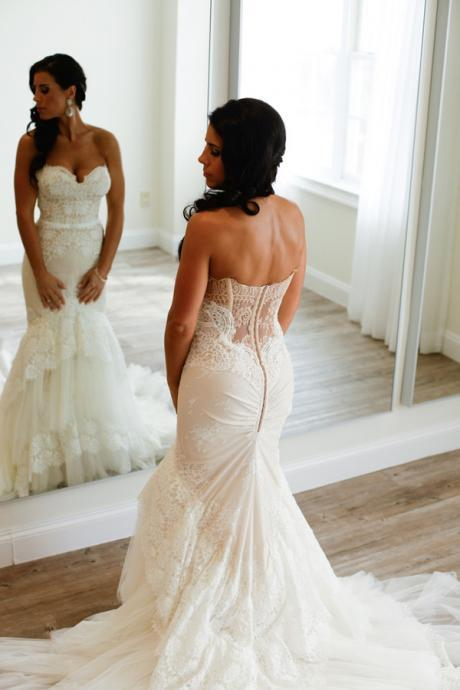 Stunning Sweetheart Mermaid Tiered Lace Wedding Dress Ruched with Sweep Train